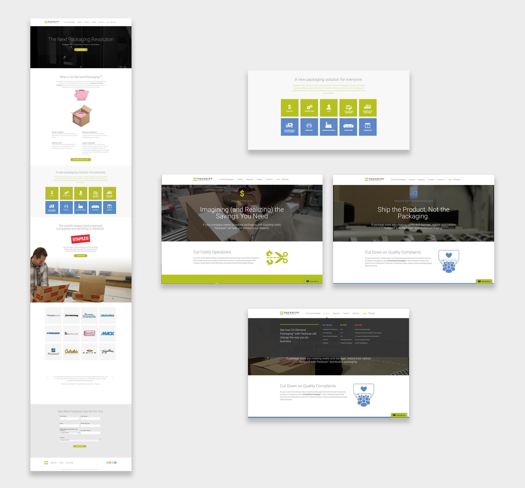 Packsize website screenshots