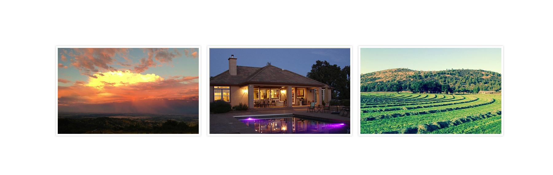 Landscape photo, house photo, and farm field photo