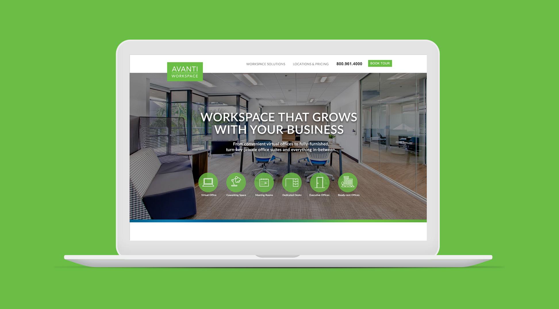 Avanti Workspace website homepage screenshot