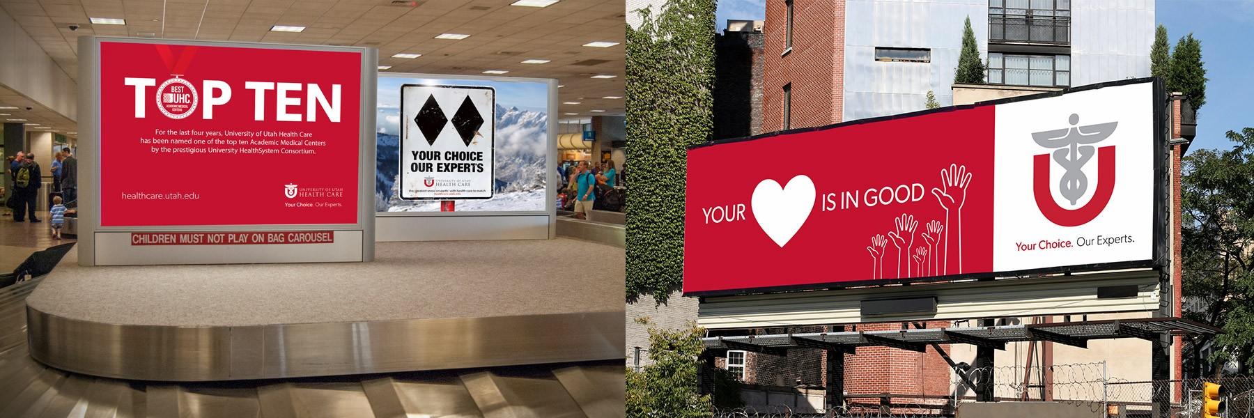 Photos of University of Utah Healthcare signs and billboard