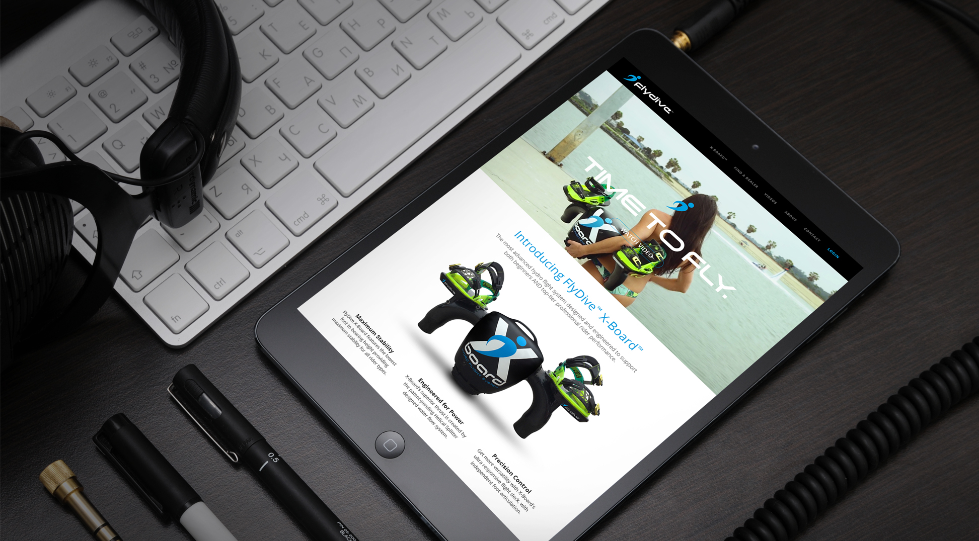 FlyDive website on tablet screen