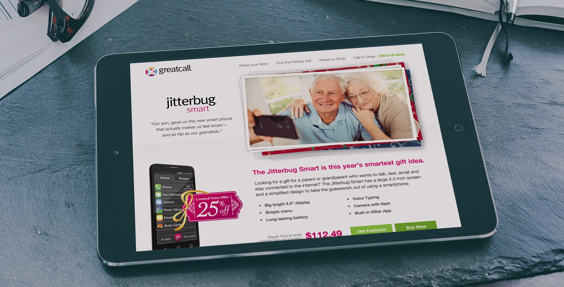 GreatCall website on tablet screen