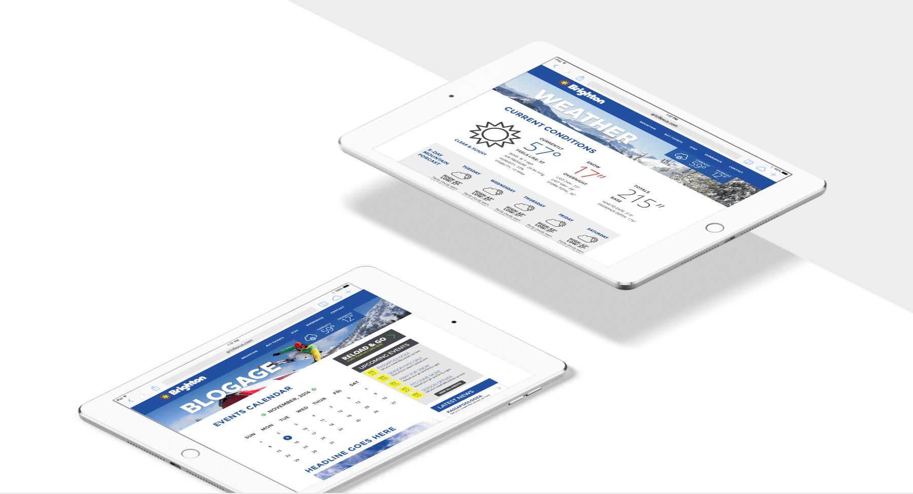 Brighton Ski Resort website screenshot on iPad