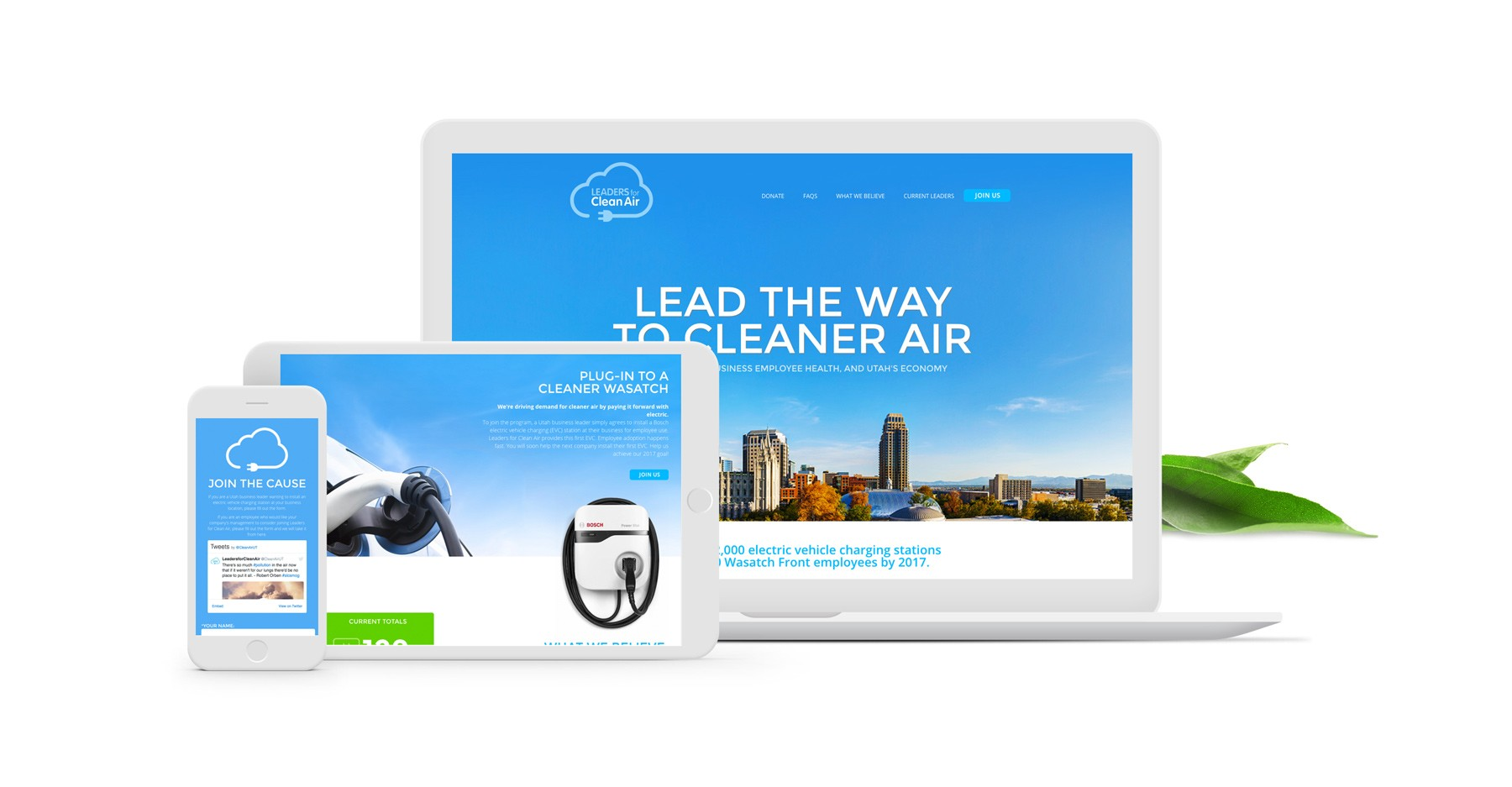 Leaders For Clean Air website on different screens
