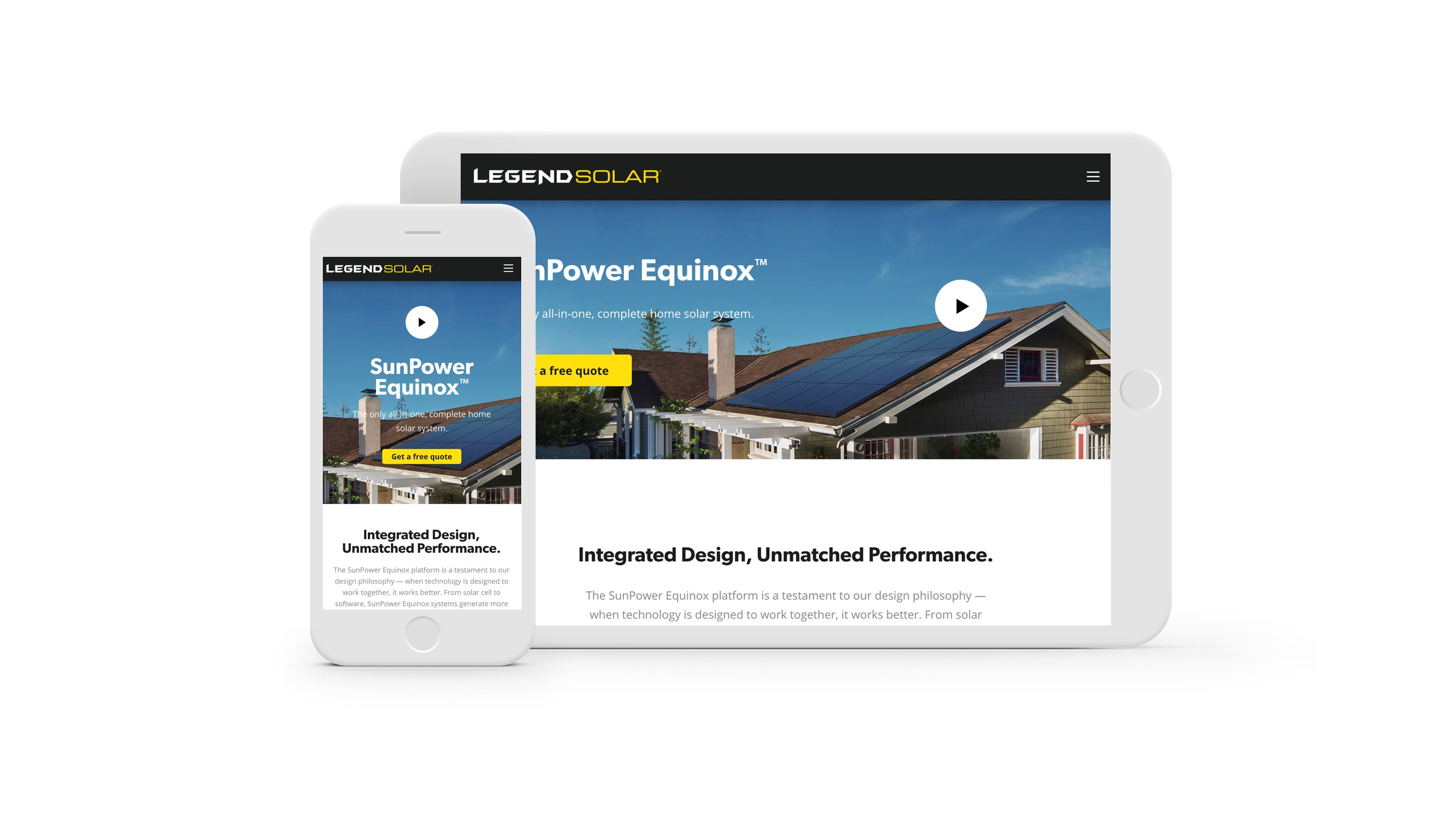 Legend Solar website on phone and tablet screens