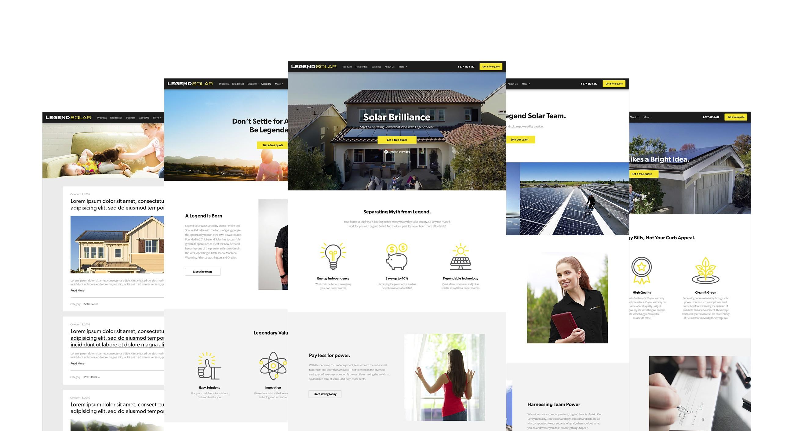 Legend Solar website screenshots