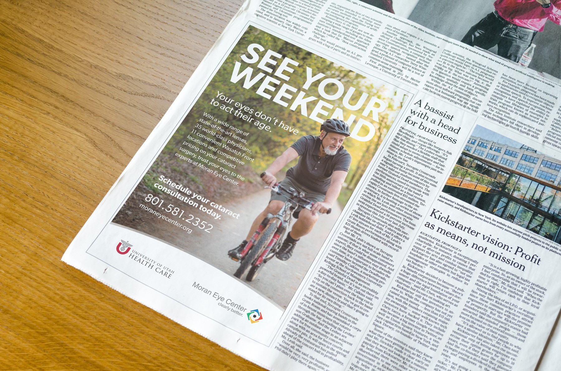 Photo of newspapaer with Moran Eye Center advertisment