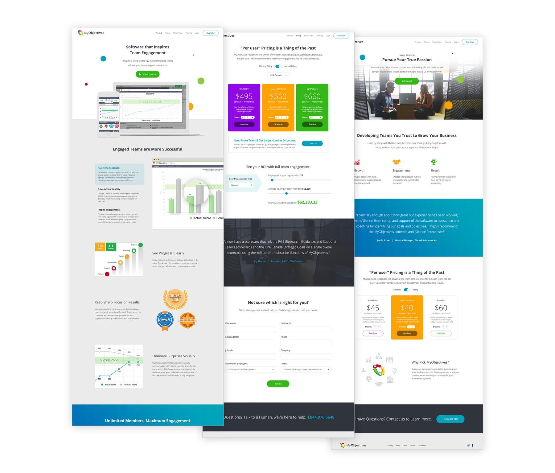 MyObjectives website screenshots