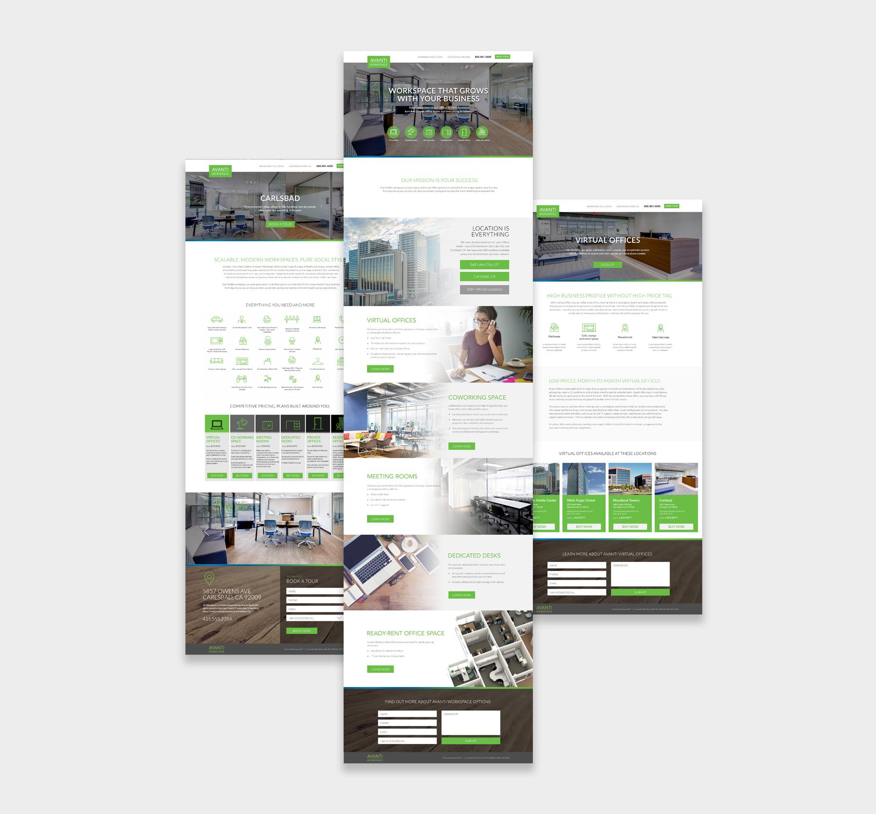 Avanti Workspace website screenshots