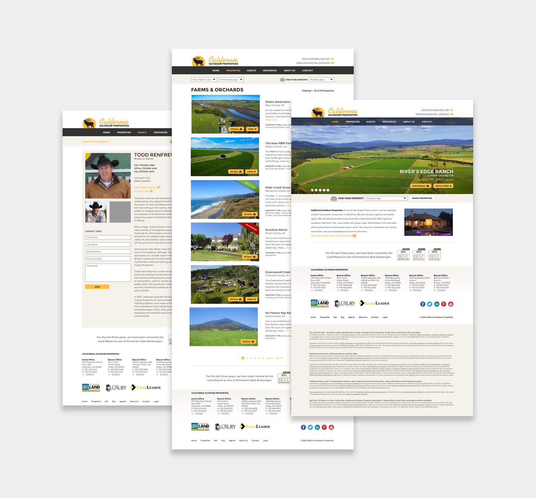 California Outdoor Properties website screenshots