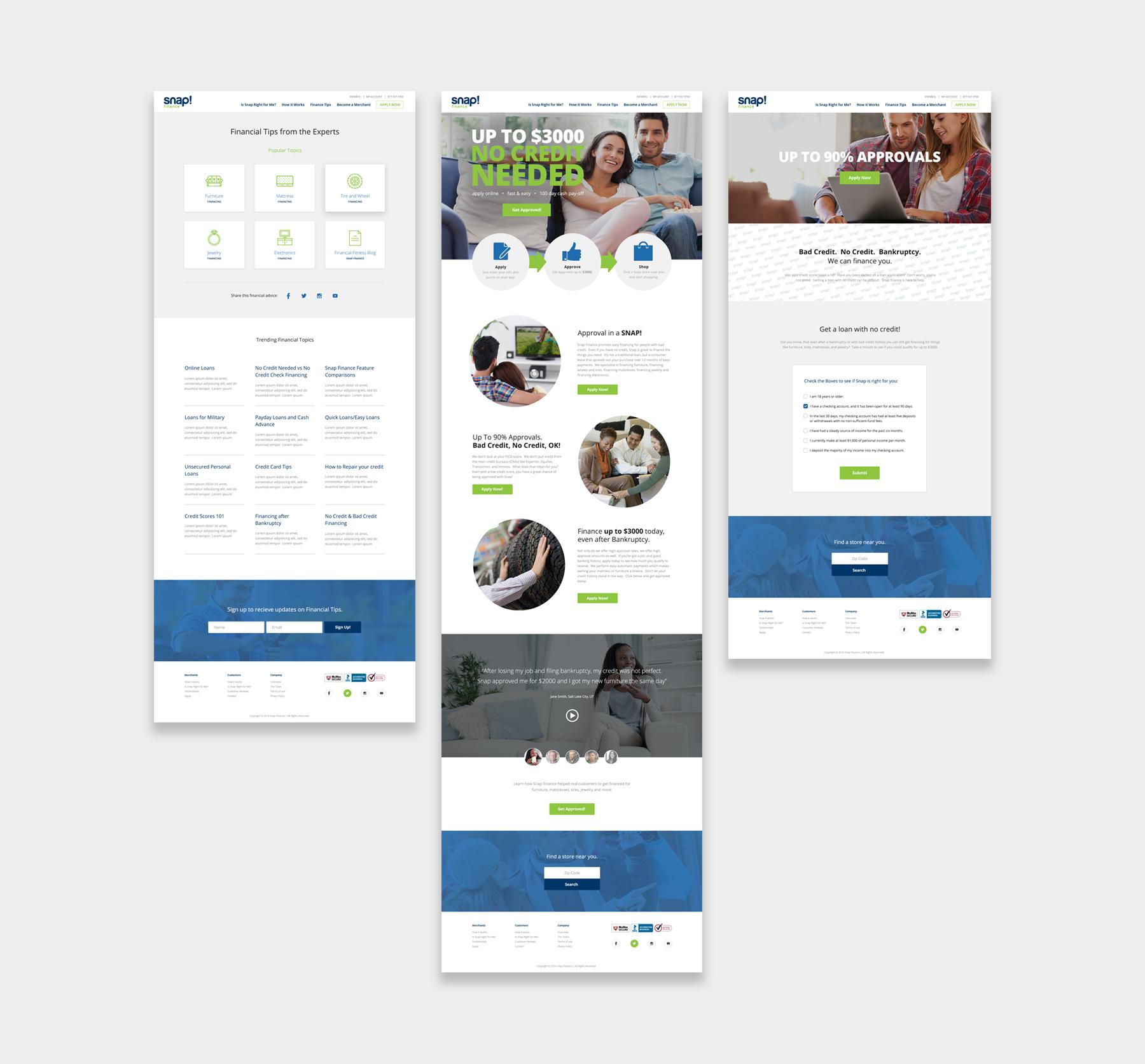 Snap Finance website screenshots
