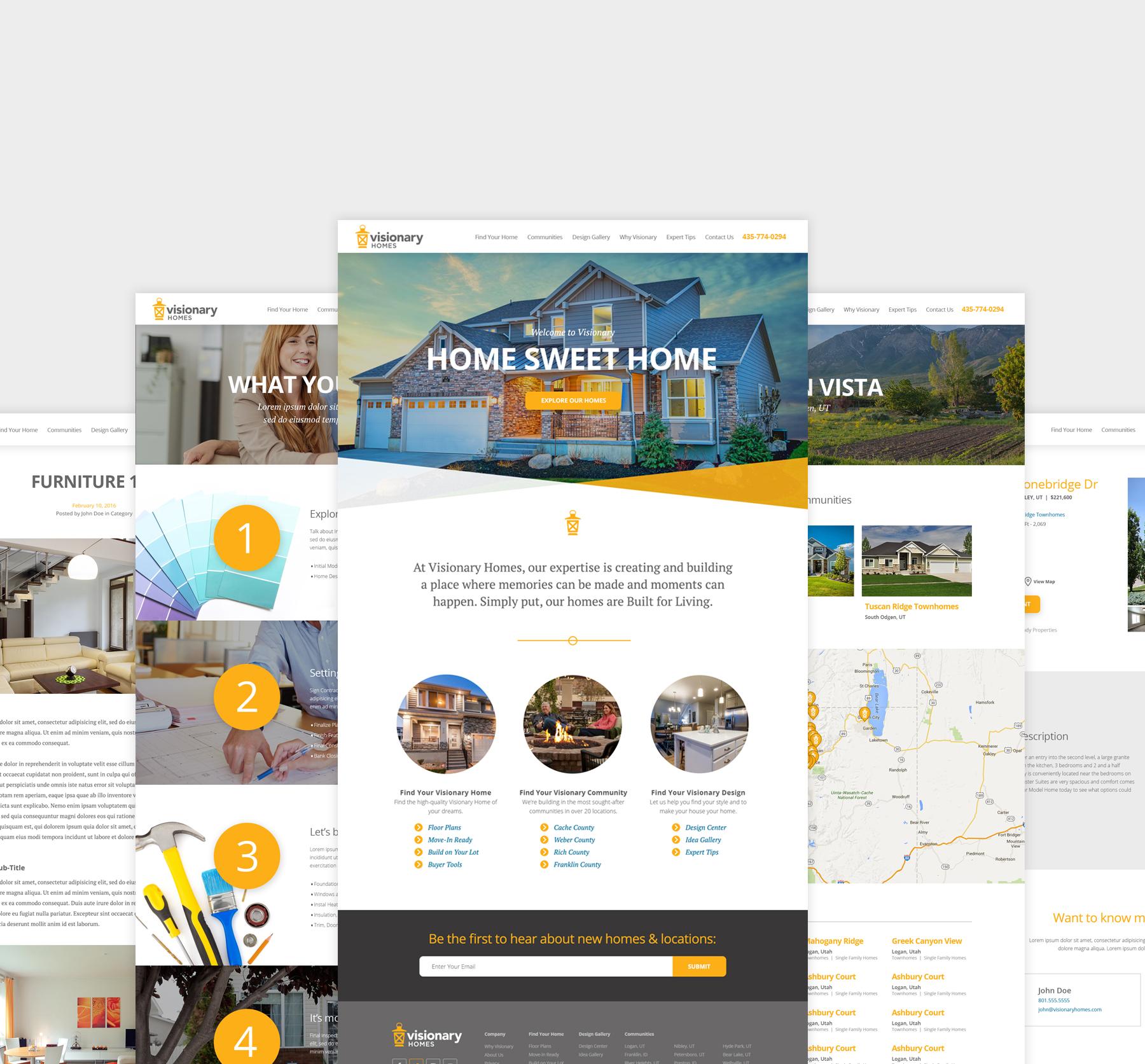 Visionary Homes webpage screenshots