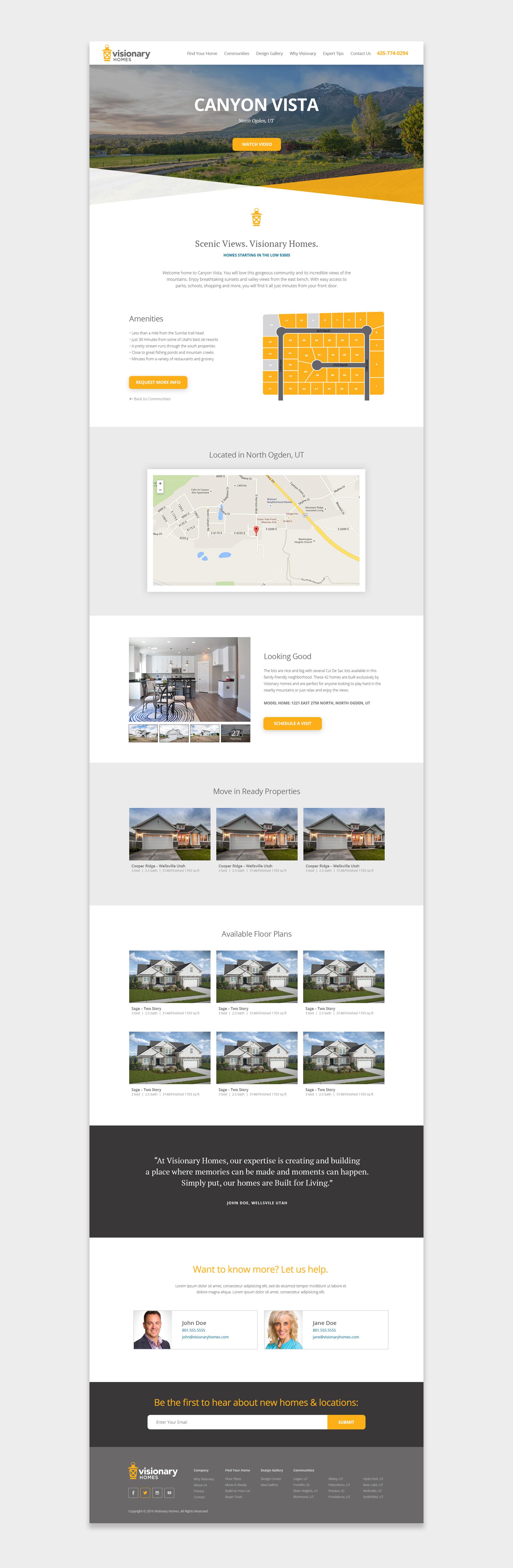 Visionary Homes webpage screenshot