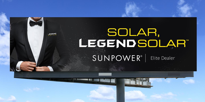 Legend Solar man in tuxedo billboard