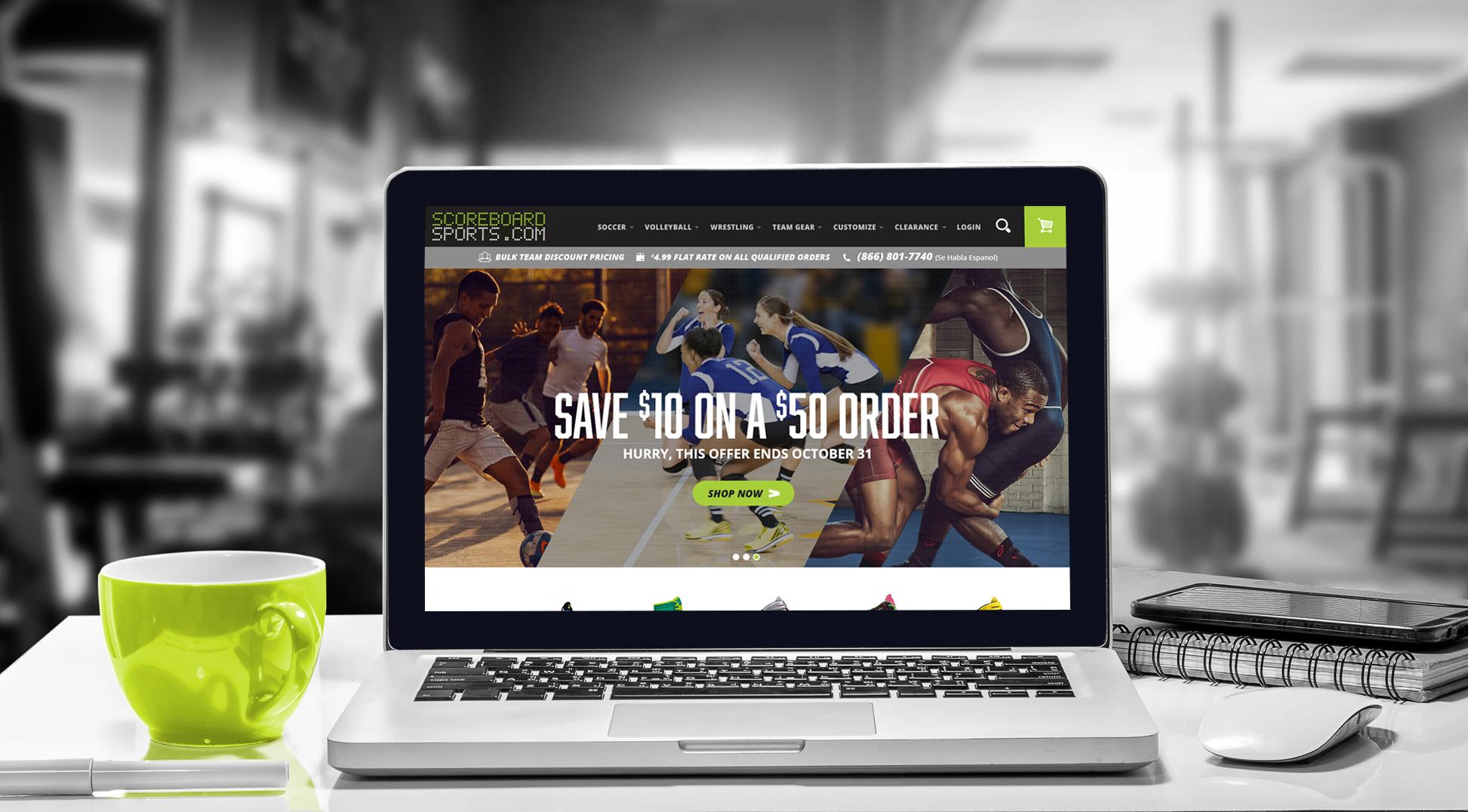 Scoreboard Sports website homepage on laptop screen