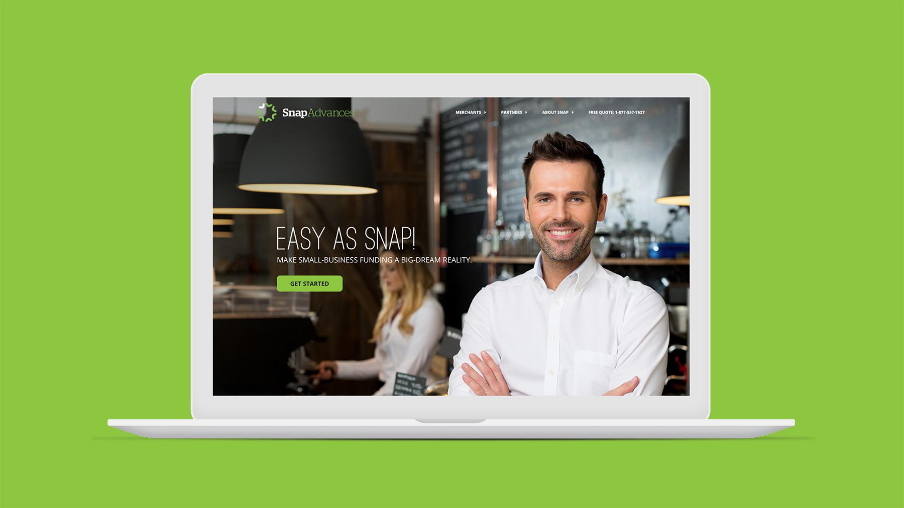 Snap Advances website homepage on laptop screen