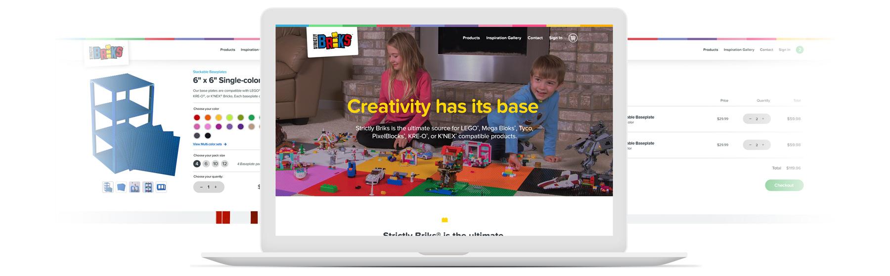 Strictly Briks website homepage on laptop screen