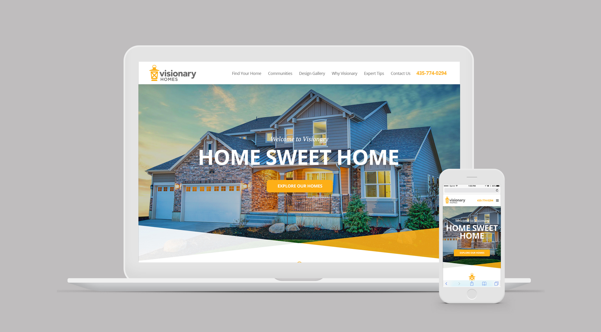 Visionary Homes website homepage on laptop screen