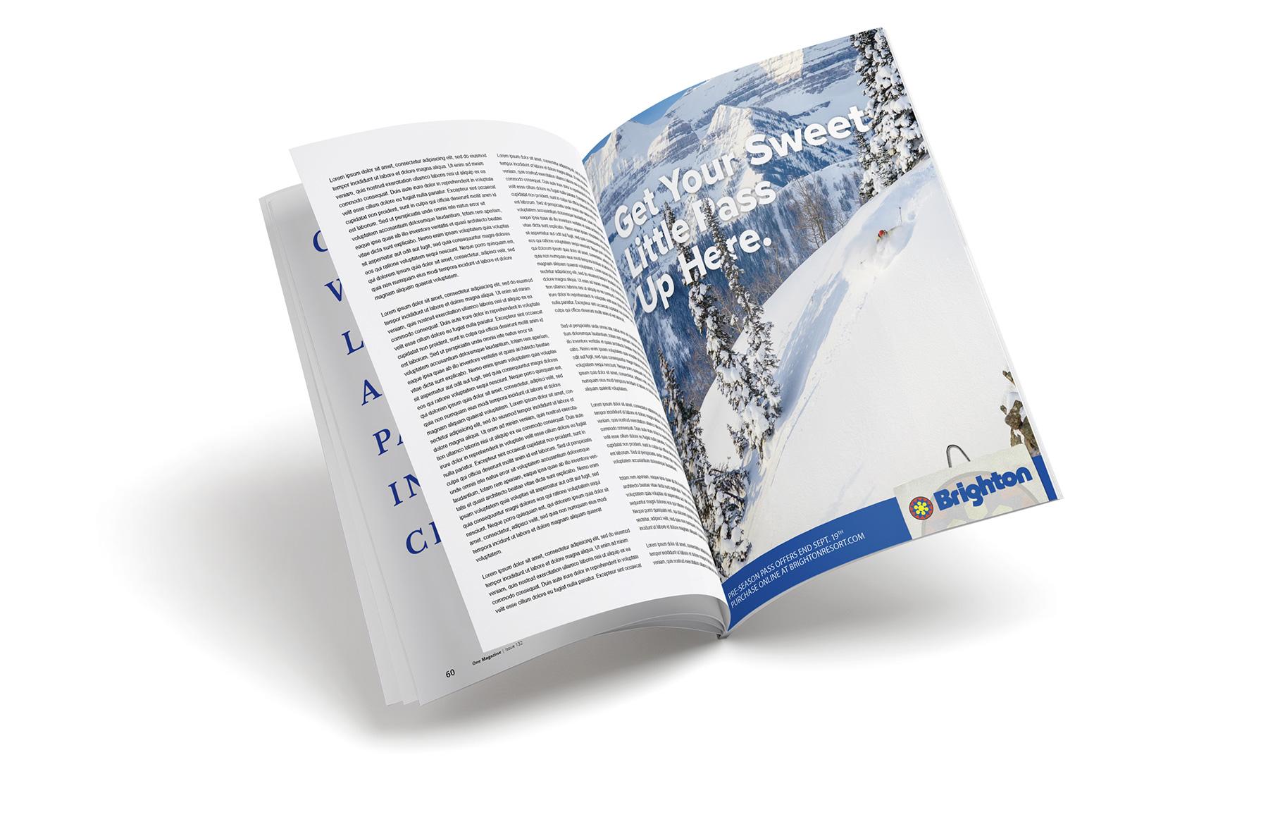 Brighton Ski Resort full page advertisment in magazine