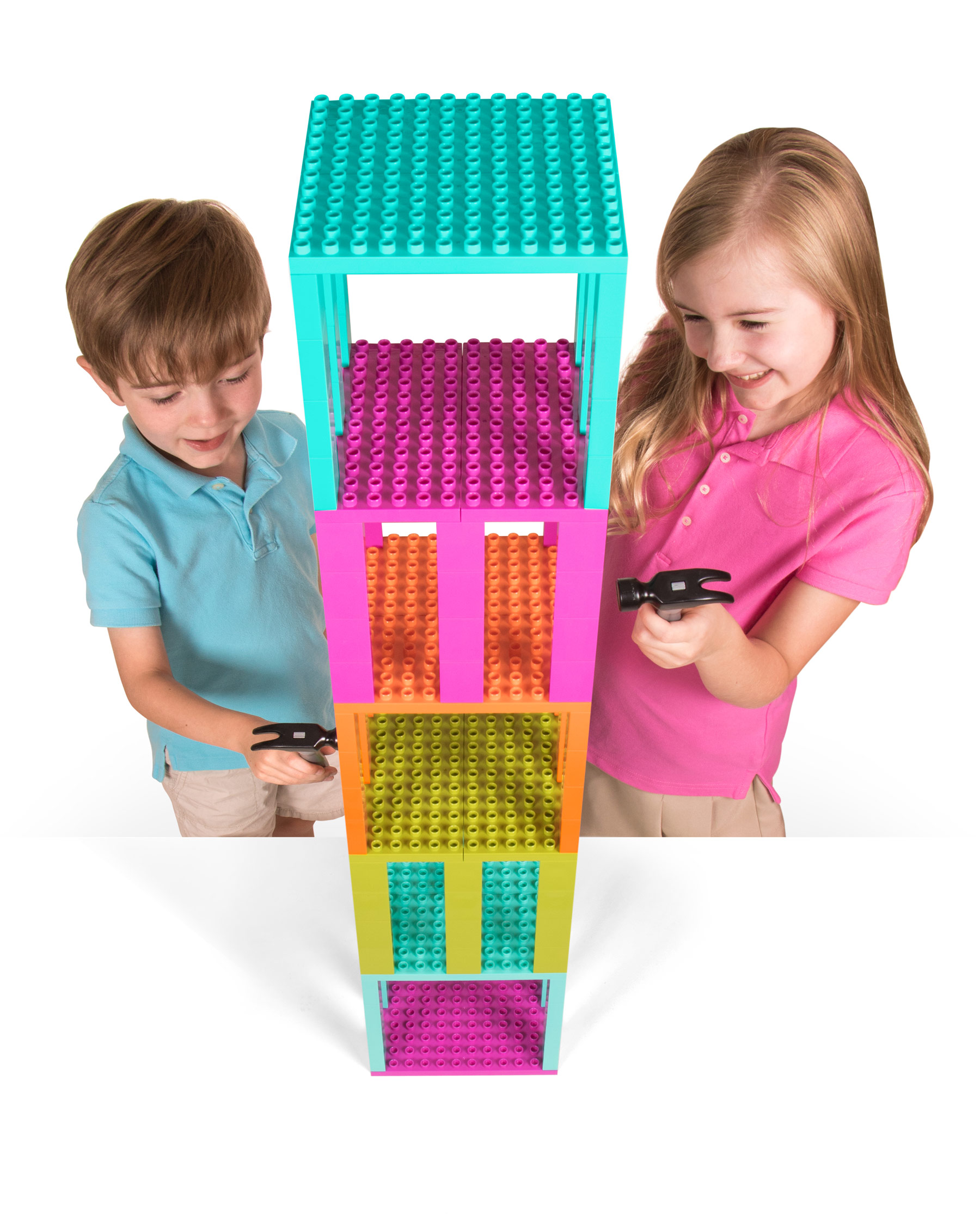 Boy and girl playing with Strictly Briks Brik Buster tower game
