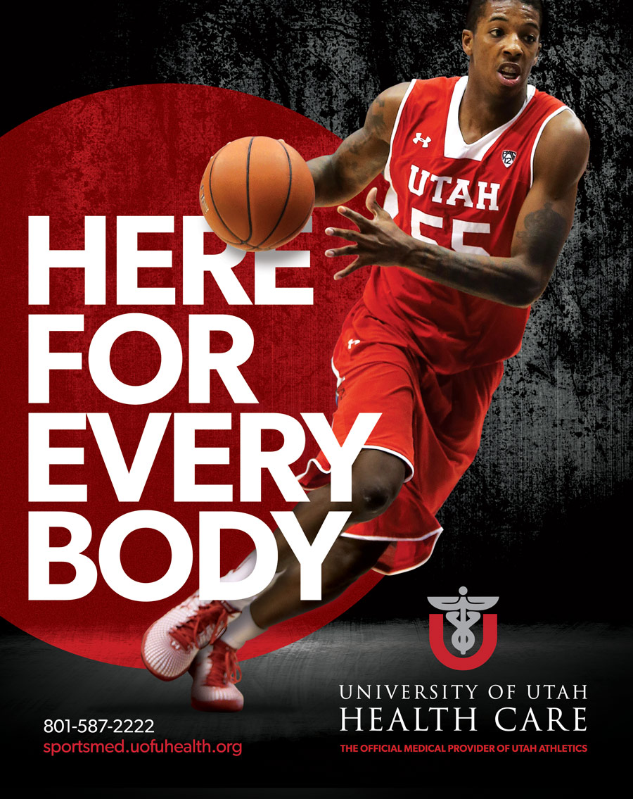 University of Utah Healthcare sign with basketball player