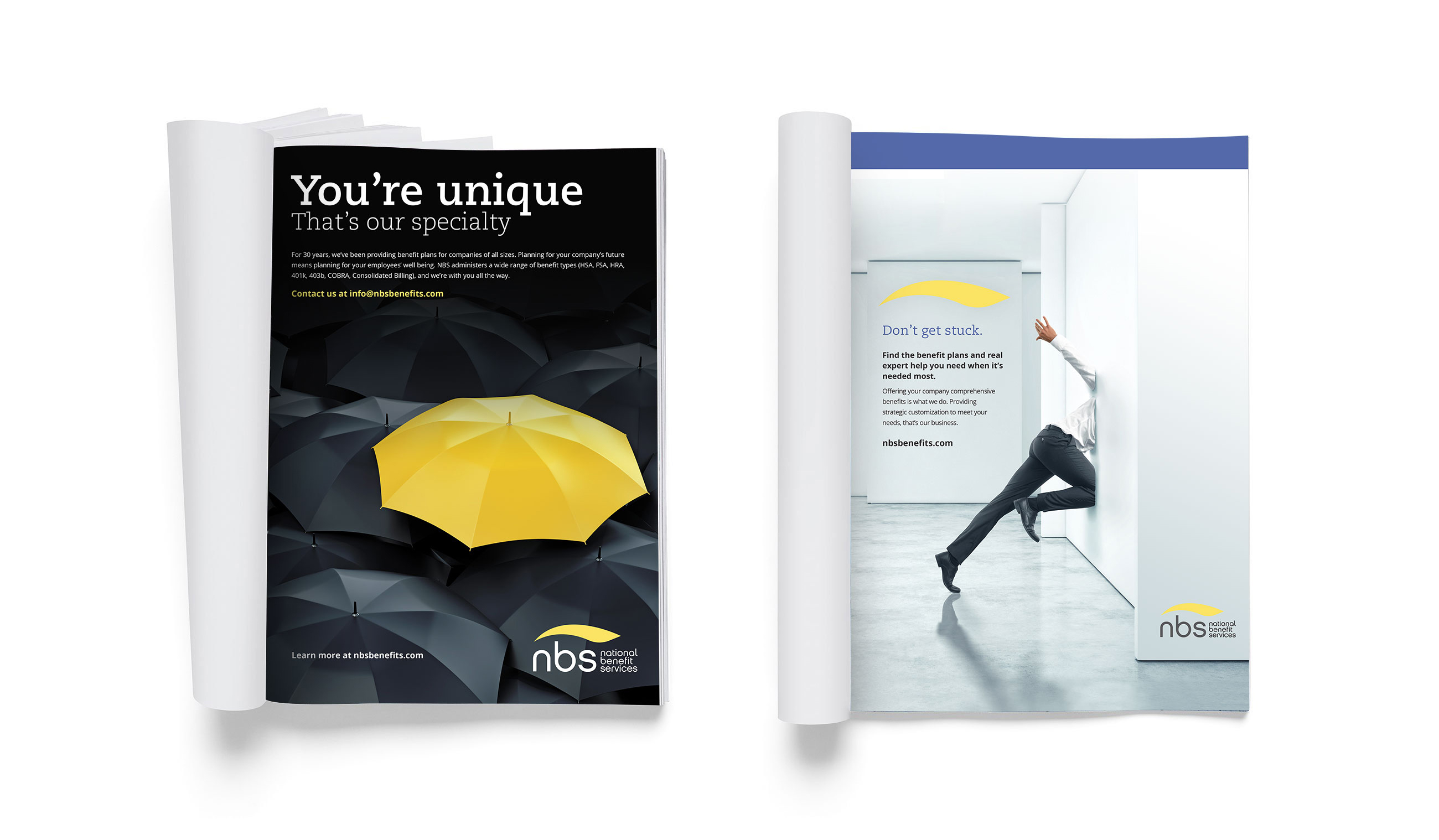 NBS full page magazine advertisments