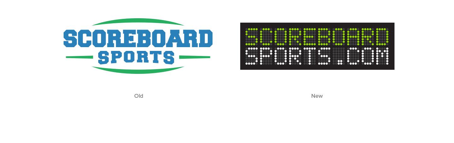 Old Scoreboard Sports logo and new Scoreboard Sports logo