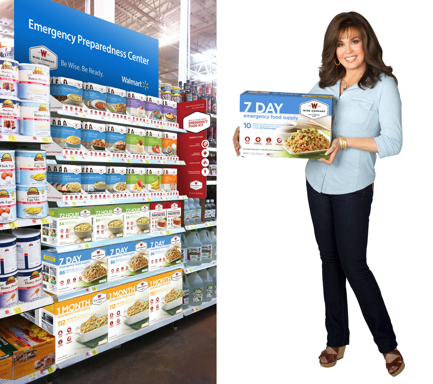 Products on store shelves and Marie Osmond holding product packaging