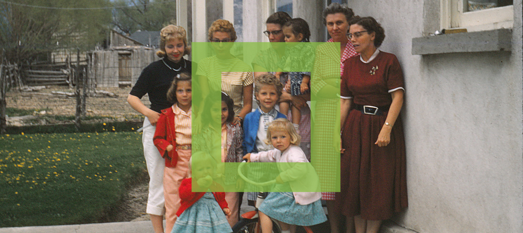 Photo of family with square graphic